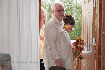 Bride Ambre Brown gets ready to enter with her father W Charles Brown.