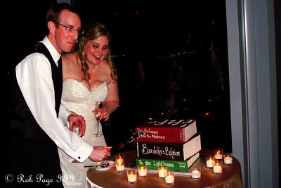 Carly and Tom cut the groom's cake - Atlanta, GA ... June 17, 2011 ... Photo by Rob Page III
