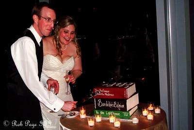 Carly and Tom cut the groom's cake - Atlanta, GA ... June 17, 2011 ... Photo by Rob Page III