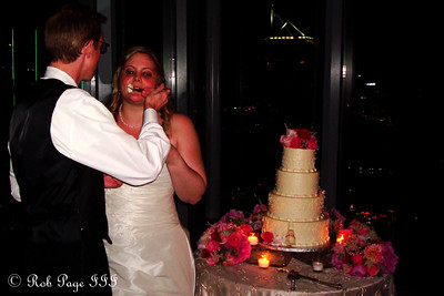 Tom and Carly enjoy their wedding cake - Atlanta, GA ... June 17, 2011 ... Photo by Rob Page III
