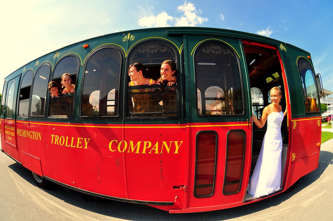 Wilmington Trolley Company makes great wedding photos.   (Oak Island, North Carolina)