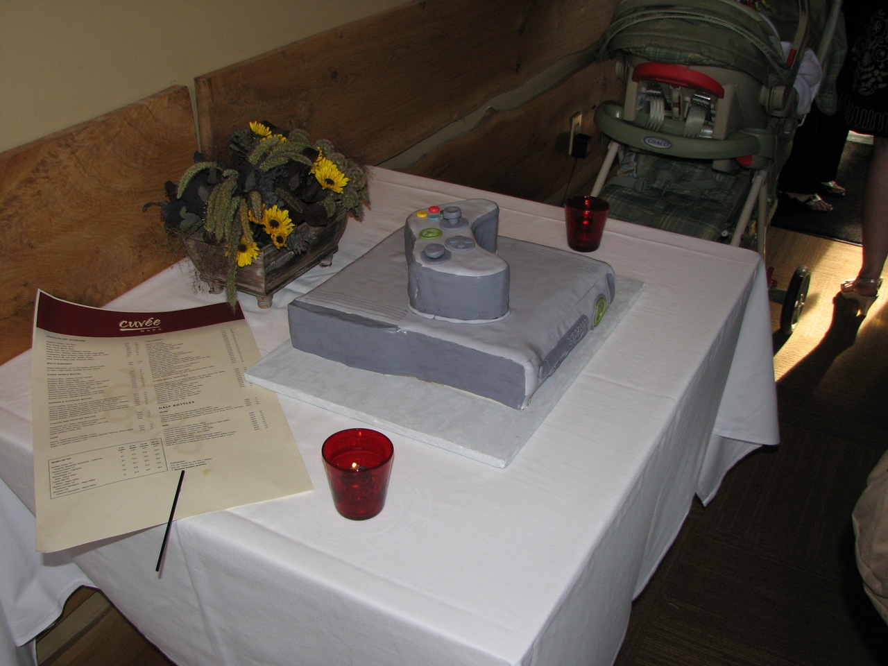 Rehearsal Dinner - a cake that meets Chad's standards: his Nintendo cake!