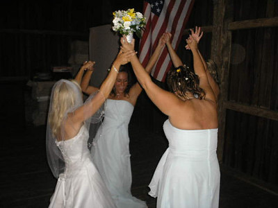 This ones for the girls. Bouquet toss.