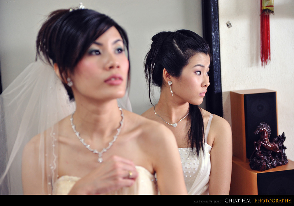 the bride maid seems to be deep in thought