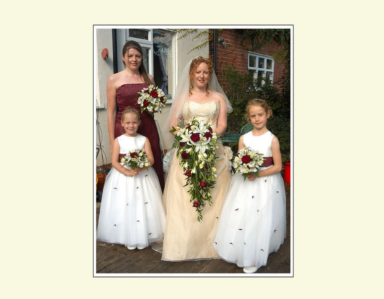 Claire and bridesmaids before the ceremony begins...