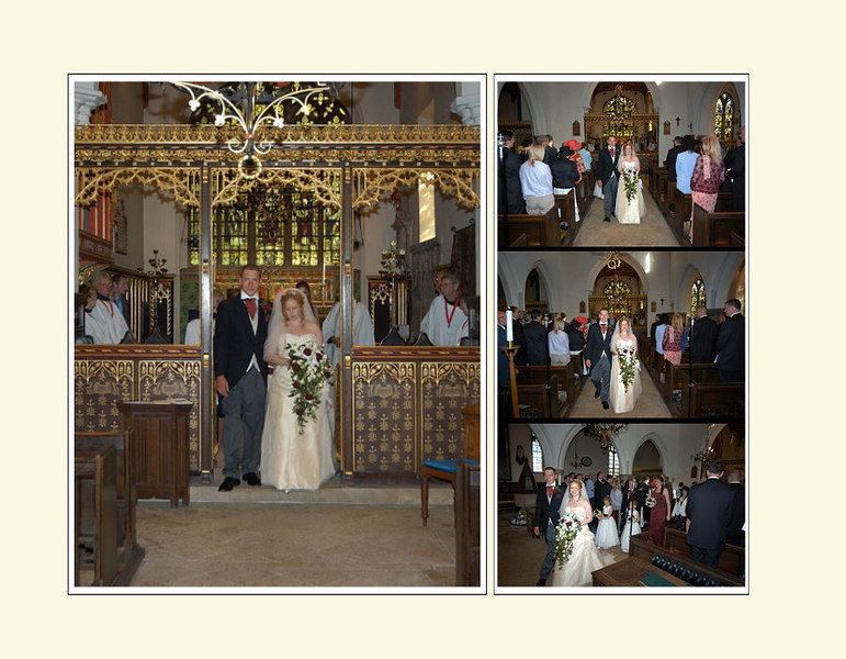 Walking down the isle.<br /> <br /> Tried to use as much of the church without swamping bride and groom out of the picture.