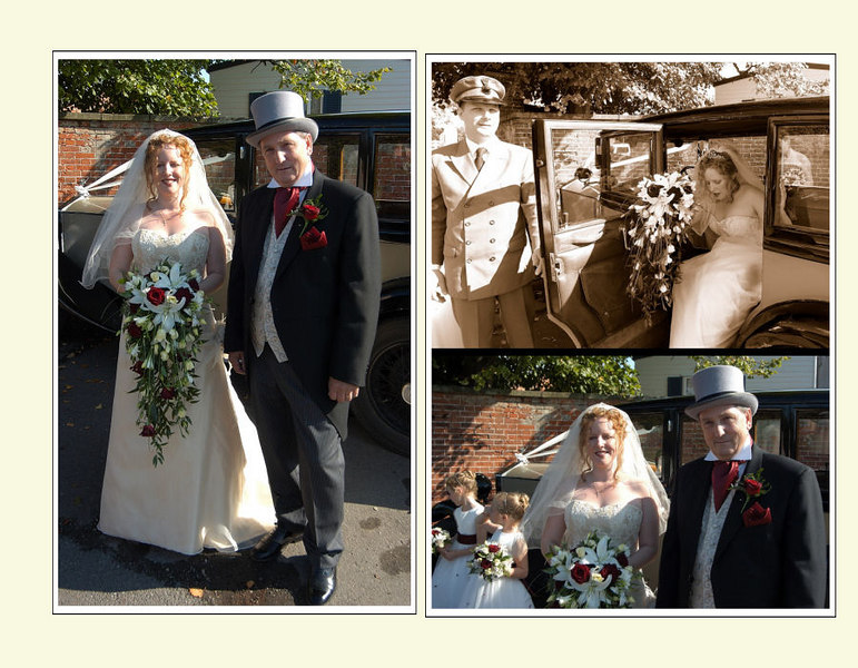 """<font color=""""red""""><b>Fifth foldout:</b></font> Bride and father before joining bridesmaids..."""