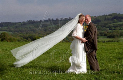 Bride and Groom in landscape