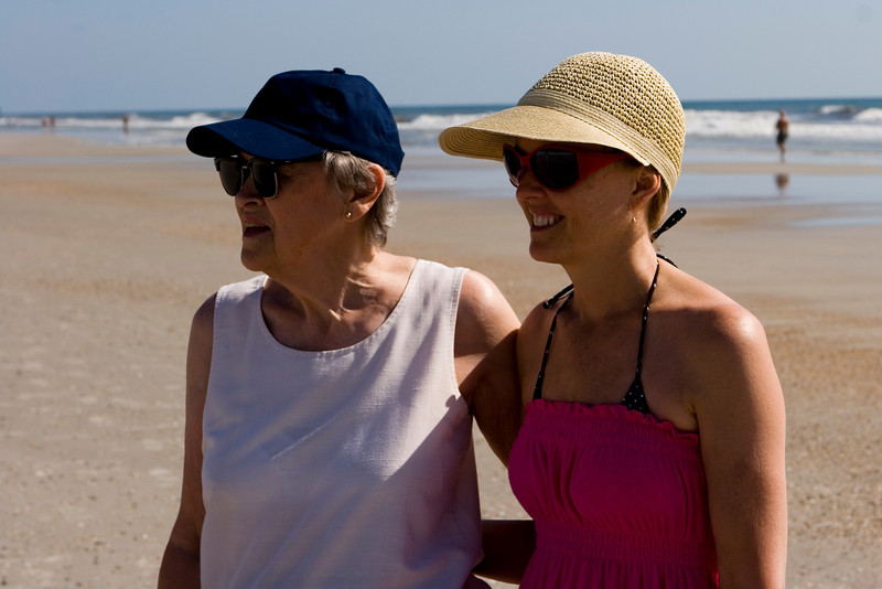 Cindy and Mom on the beach