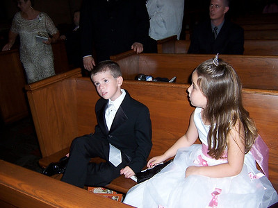 TyTy...doesn't he look so handsome???!!!   With the Flower Girl, Annie, Courtney's niece.