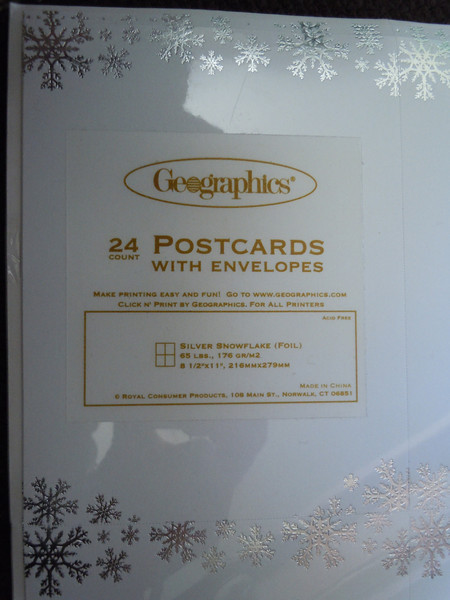 another close up<br /> <br /> Geographics Printable postcard size cards with envelopes.  New in package.  There are 4 to a page.  Shiny white with Metallic silver snowflakes.  There are 5 packages available.  $2 each or all 5 for $8.