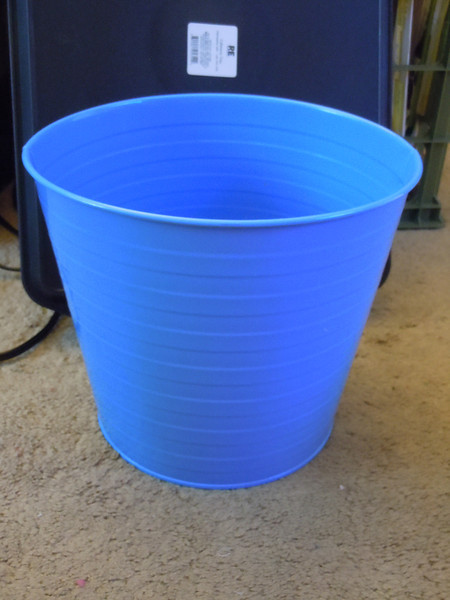 Large blue metal bucket, one available, $2