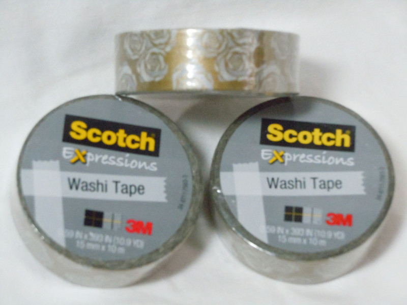 Scotch brand washi tape in gold with rose design.  $1 each