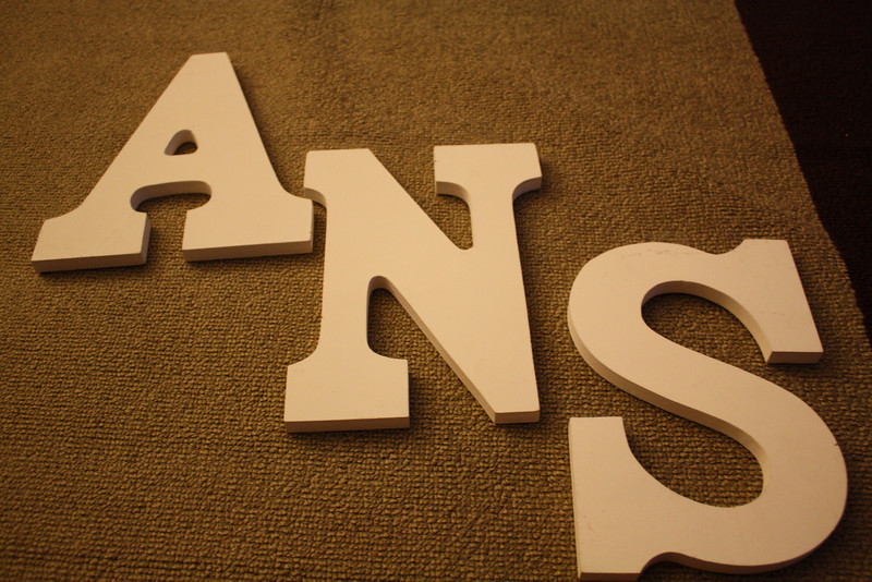 "white wooden letters, 9"" tall, 5 3/4"" wide, $2 each"