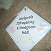 "Diamond laminate plastic sign (like the baby on board signs) w/suction, ""Newlyweds still unpacking at the honeymoon hotel"".  It is 5""x5"". $.50, 1 available"