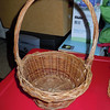 "Wooden flower girl basket, $2, one available.<br /> Base is 5"" while top of basket is 7.5"" wide. With handle, the basket is 12"" high"