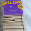 """30 wooden doll pins. New in package.  3 3/4"""" in length<br /> 3 packages available, $7 each package or all 3 for $20"""