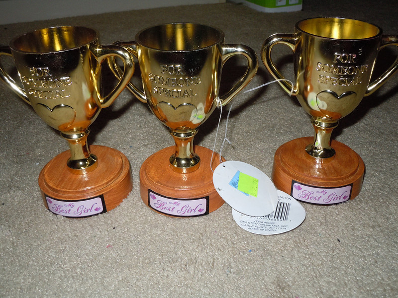 """Small plastic trophies that read, """"My Best Girl"""" on the base and """"For Someone Special"""" with a heart on the trophy itself.  I was going to place my own label on the bottom and use it as prizes at a bridal shower but ended up not using them.  3 available, $1 each or all 3 for $2"""