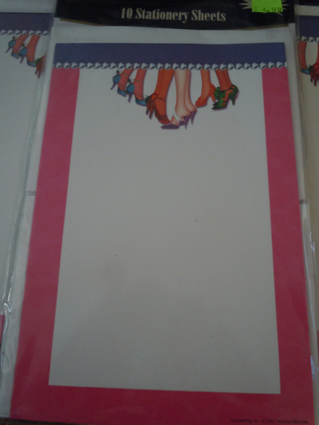 Party Occasion 10 Stationary Sheets w/envelopes.  Pink border with womens' legs, feet, and shoes at the top center.  There are 5 packages available.  $2 each