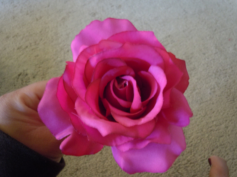 Bright fuschia rose clip, one available, $3