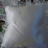 I have a plain white ring pillow, not in package.  It is a satin finish with lace edging and a simple fabric band underneath for the ring bearer to hold the pillow. $2