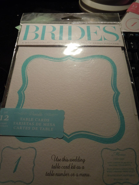 **Unavailable**<br /> Brides Collection: 12 table cards, printable.  $2.50