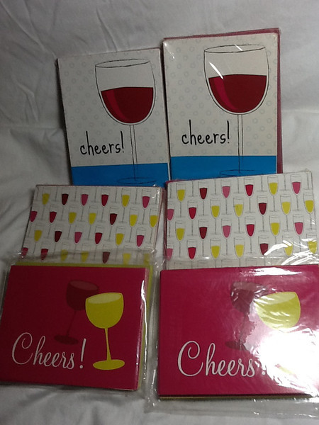 I have note cards / cards that can be used for invitations or thank you cards or even give away / favors.  They are wine themed card sets.  2 sets of each design:  One design has a single wine glass half filled with light blue circle background and the word cheers!.  Another design has two wine glasses, one lime green/yellow and the other burgundy on a bright pink card with the word Cheers!.  The last design is a bunch of different flutes filled with different colored beverages.  Each set has 8 note cards each with envelopes.  Each set for $.50 or all 6 for $2
