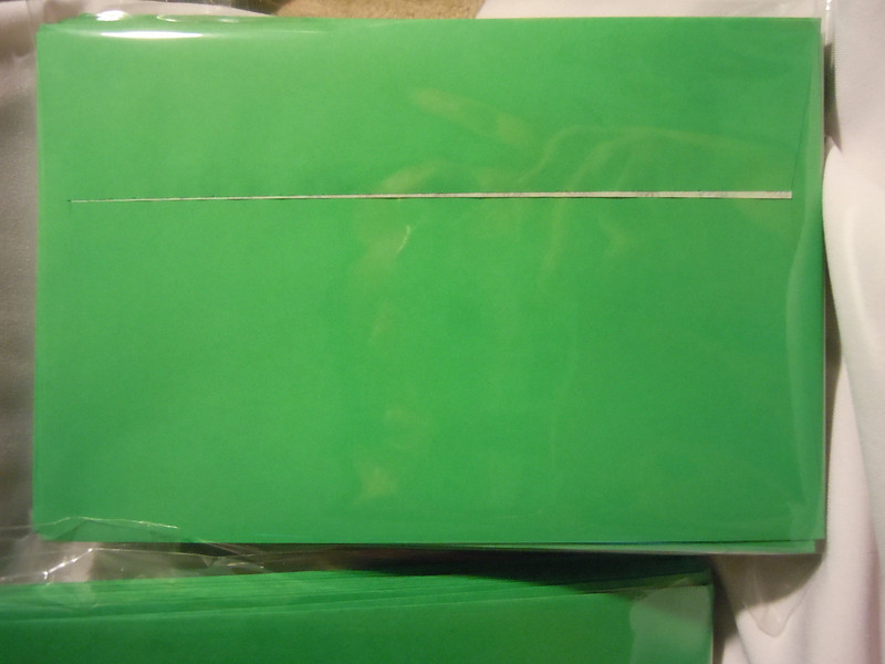 "Ampad brand Release and Seal A9 Greeting Card Size Envelopes, 5 3/4""x8 3/4"", Green.  They have squared flaps and a easy pull seal to close the envelopes.  There are 8 dozen in total.  Each dozen is $1."