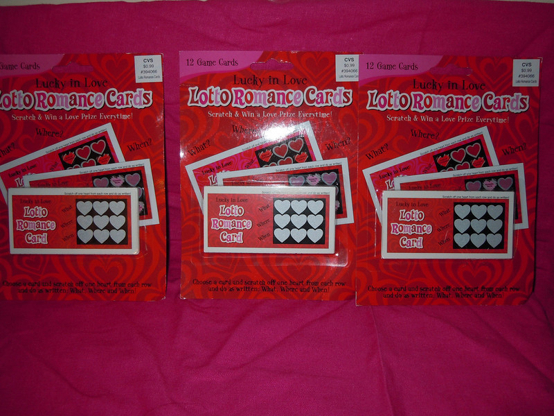 3 packages of 12 Lotto Romance cards, $1 each or all 3 for $2