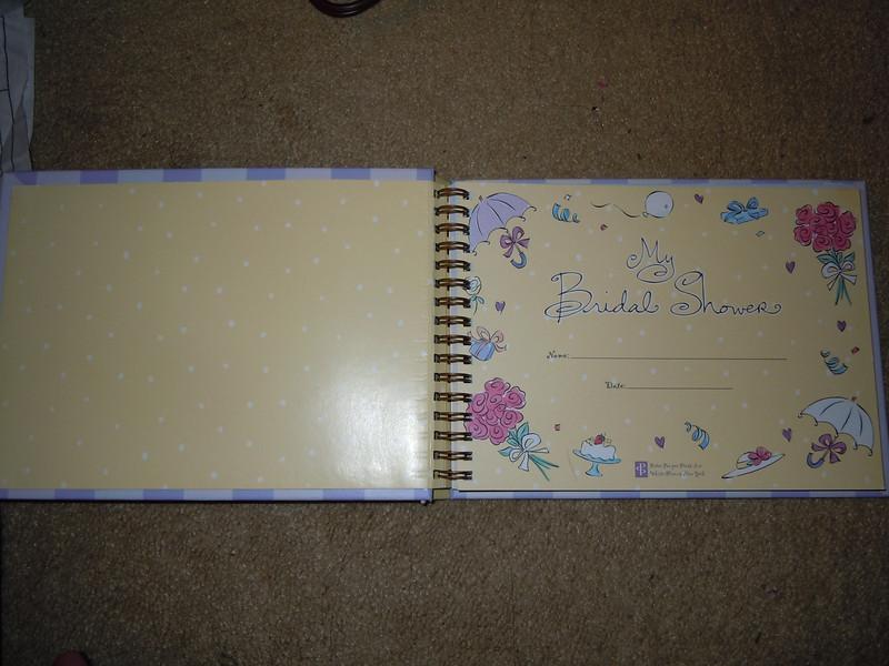 inside of book<br /> <br /> Bridal shower hardcover book, $2