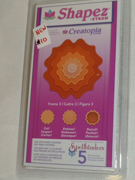 Shapez by Xyron, manufactured by Spellbinders.  This set is Frame 3 with 5 dies included in this brand new set. One available, $10