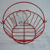 "Red wire basket, new with tags. Bottom is 5"" across.  The opening is 7"" across. The height of the basket without the handle is 3"" high., $1.50, one available."