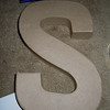 "Close up of S<br /> <br /> 8"" paper mache letters, each one will be a $1"