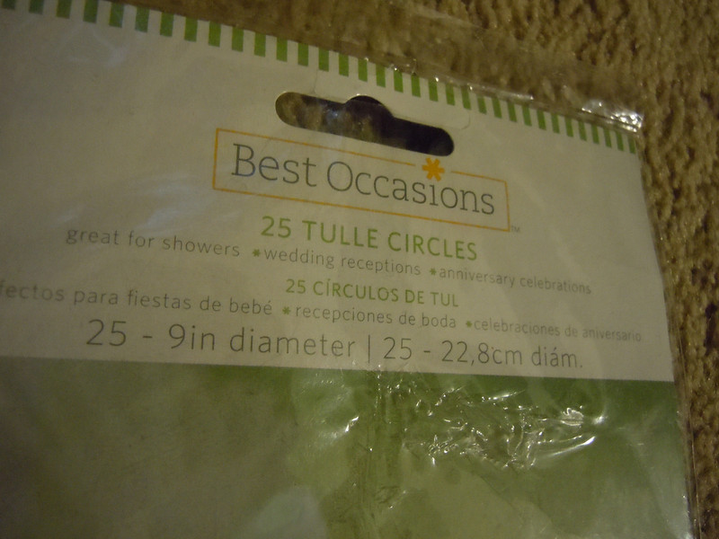 Shot of the top of the package<br /> New in package, Best Occasions, 25 Tulle Circles, One package available, $2