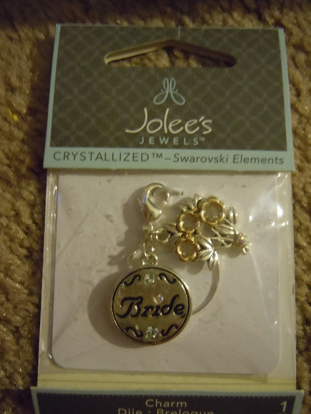 Jolee's Jewels Crystallized Swarovski Elements Bride Charm.  Can be attached to bride's bouquet.  One available, $3