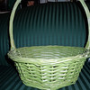 "Green wooden basket, $4<br /> Base is 9"" wide, top is 12"" wide, 15"" tall with handle."