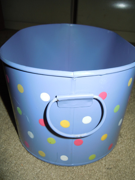 Purple color spotted metal oblong bucket.  $3