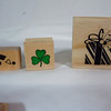 Wooden Rubber Stamps<br /> small party confetti stamp, used, 50 cents<br /> small shamrock, (I bought it used), $50 cents<br /> Present stamp, NEW, $1