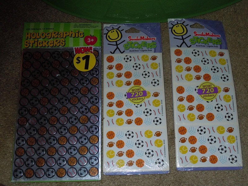 1 packages of stickers: sports balls. Only set left is the one on the left, $.50