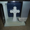 another angle of the box<br /> <br /> Top of the box<br /> <br /> Wilton White cross on platform w/columns.  The cross can be removed from the platform.  There is a metal piece that you can engrave.<br /> <br /> One available, $5