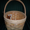 Small Wooden basket with movable handle, $1