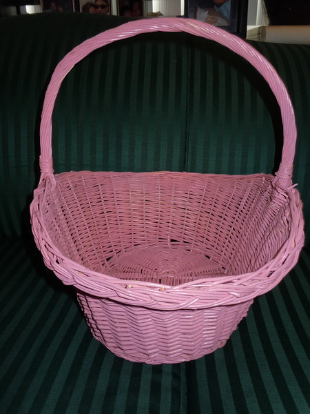 "Large Pink Wood Basket, $3.  Bottom is 8"" width, 10"" across.  Opening is about 14"" across, 11"" in width.  Almost 15"" in height with handle.  Handle does not move."