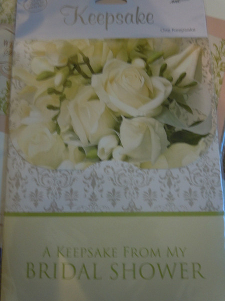 Bridal Keepsake for a bridal shower.  This matches the bridal shower banners. $1, one available.