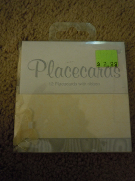 12 placecards with yellow and gray, 25 cents, 1 package available.