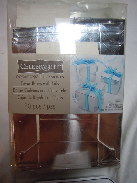 Celebrate It Occasions Silver Favor Boxes with Lids.  20 pieces.  One set available, $2