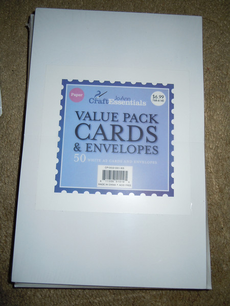 JoAnn Craft Essentials Value Pack Cards and Envelopes. White A2 Cards and Envelopes.  There are 50 of each in the package.  Sells for $6.99 at JoAnn's Fabric.  I have 10 packages available.  Each package $3.50 or all 10 packages for $25.