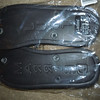 Underside of slippers<br /> <br /> Just Married Slippers, Black. Size Ladies Large. The underside of these slippers have JUST under the Left and MARRIED under the Right. $5