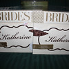 Brides Collection Chair signage, 2 in each package.  2 available in Ivory/cream with brown edging and ribbon tie.  50 cents each
