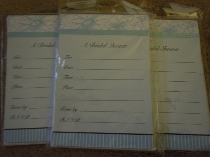 "Picture of all 3.<br /> <br /> Bridal Shower Invitations by American Greetings.  Blue floral design, just need to fill in the information. 10 invitations, 10 envelopes.  About 4 1/2"" x 6 1/2"" invitations.  There are 3 packages available.  $1 each package. Buy all 3, total will be $2"