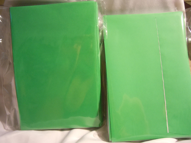 "All 8 dozen of the envelopes pictured above<br /> <br /> Ampad brand Release and Seal A9 Greeting Card Size Envelopes, 5 3/4""x8 3/4"", Green.  They have squared flaps and a easy pull seal to close the envelopes.  There are 8 dozen in total.  Each dozen is $1."